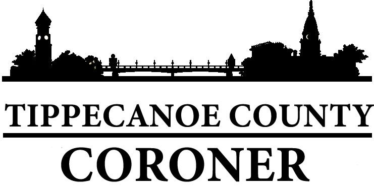 Tippecanoe County Coroner Logo of the twin citites and bridge skyline