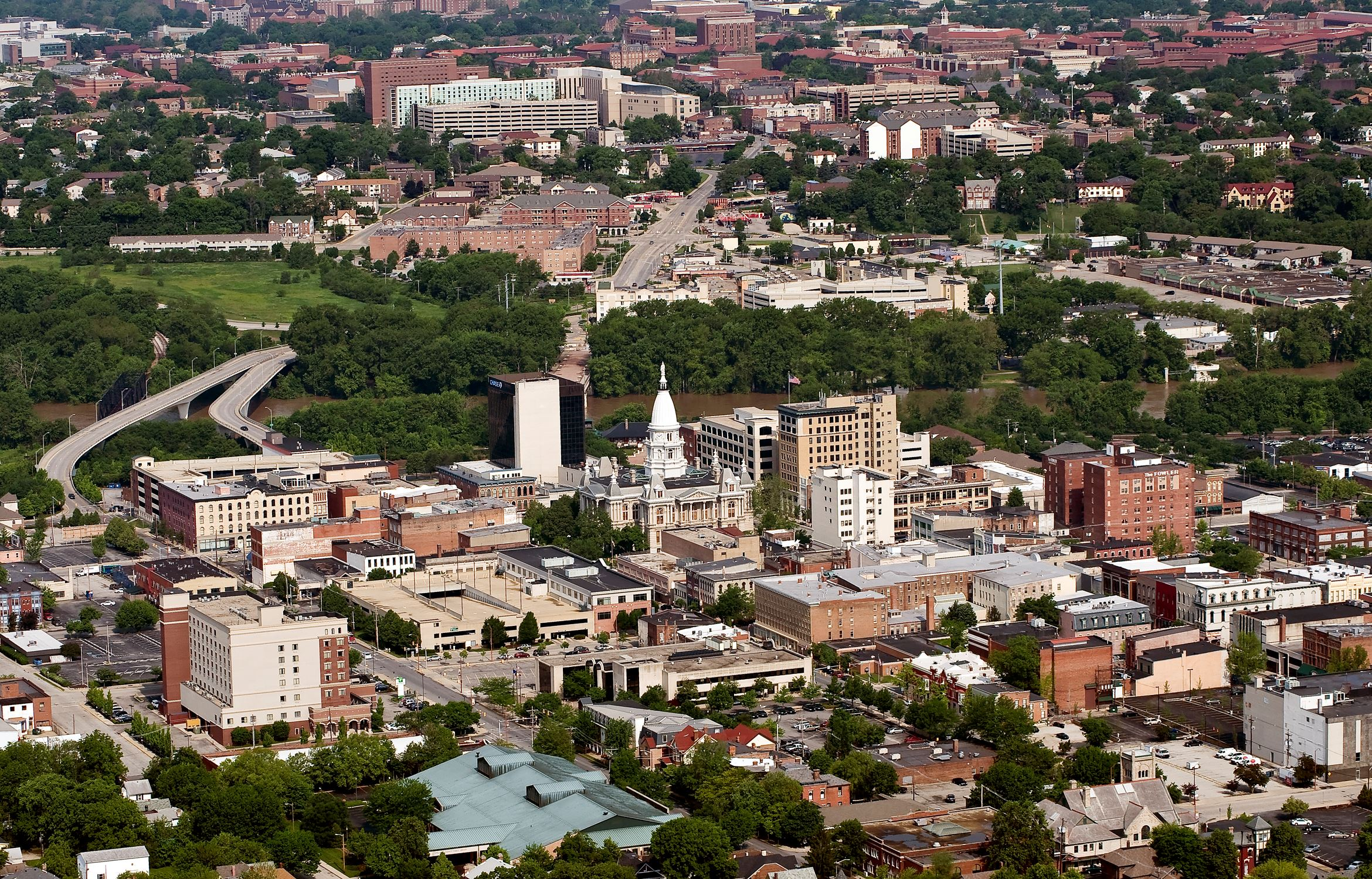 Aerial of Downtown and Campus