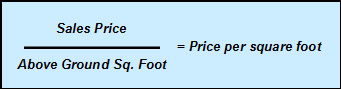 A formula showing how to find the price per square foot for properties.