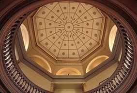 A photo of the ceiling in the court house.