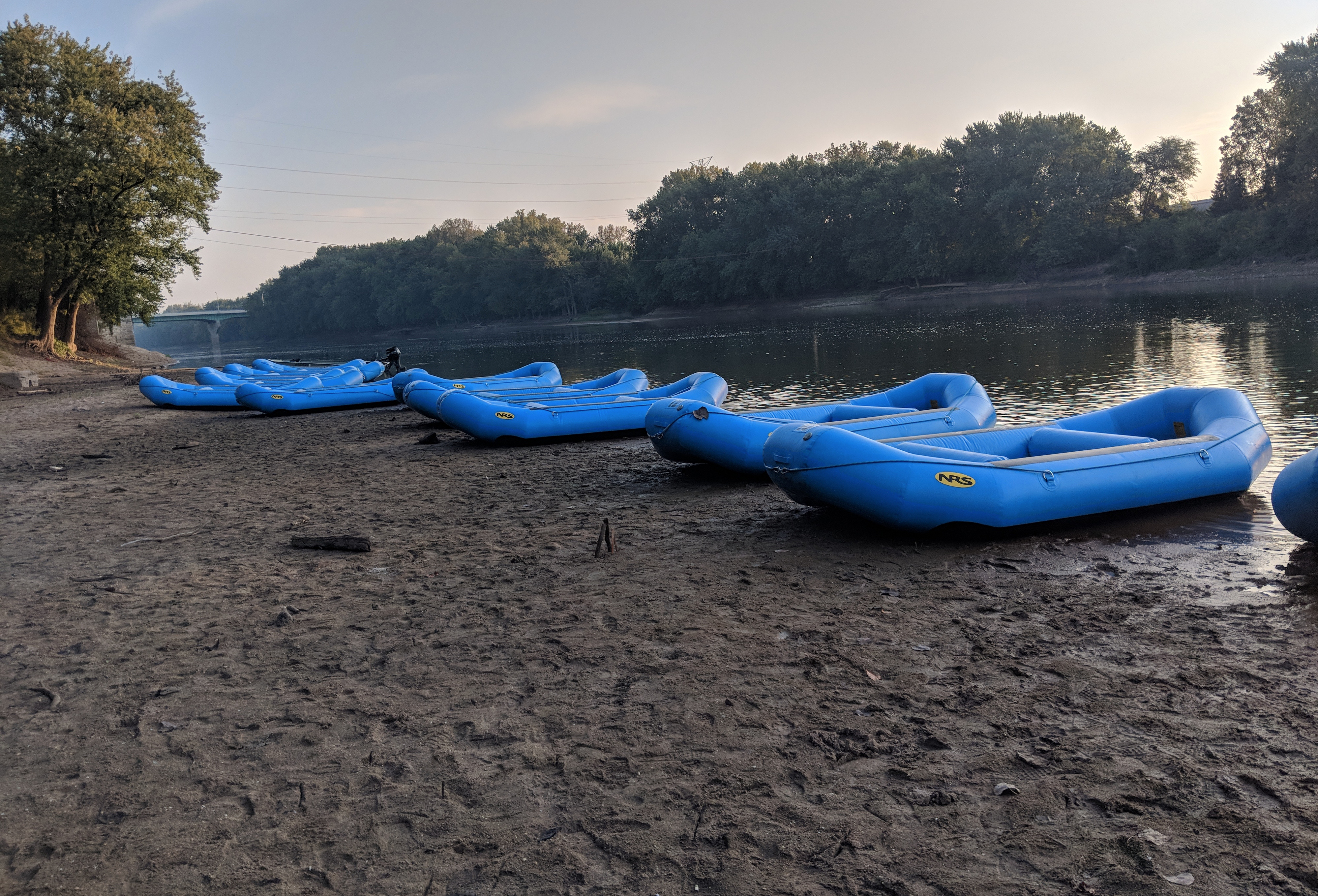 Rafts lined up at Tapawingo Park