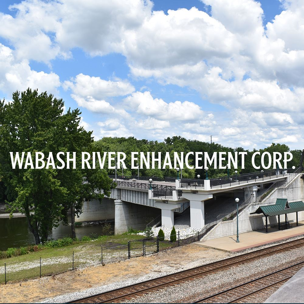 Wabash River Enhancement Corp with photo of the river and pedestrain bridge