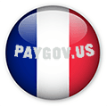 Pay Gov Red white and Blue graphic button with paygov.us url