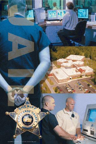 Images of Person With Hands Cuffed Behind Back, Aerial View of Jail, Command Center, Finger Printing